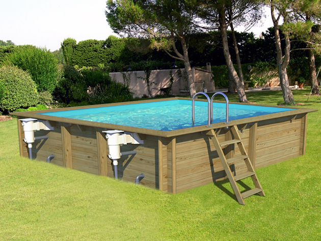 piscina in legno fuori terra odyssea 5x5 quadrata 5 50 x 5 50 h 1 46 m. Black Bedroom Furniture Sets. Home Design Ideas