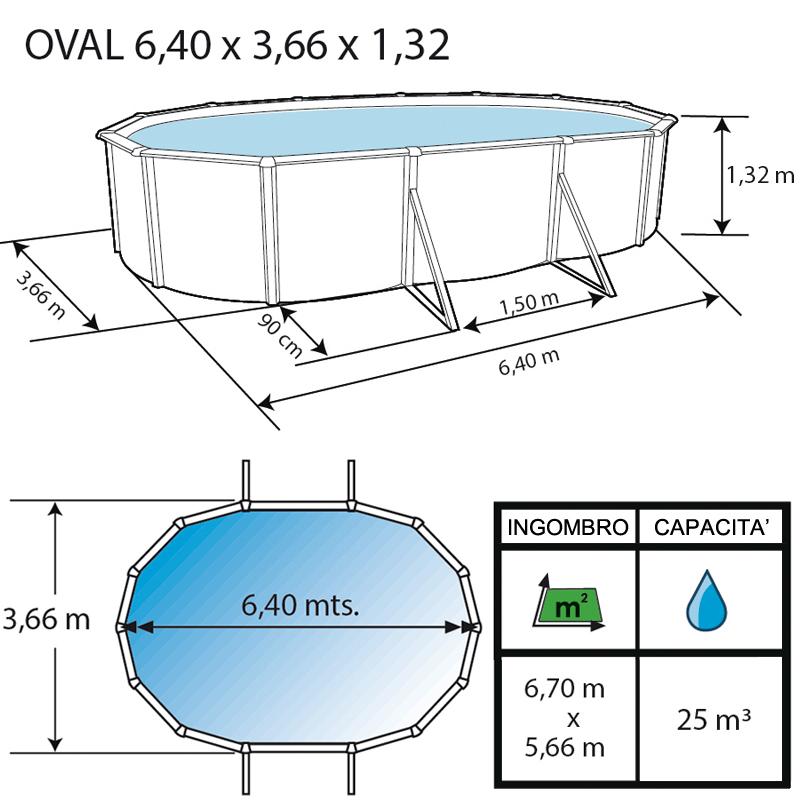 Piscina fuori terra ovale PRESTIGIO 6,40
