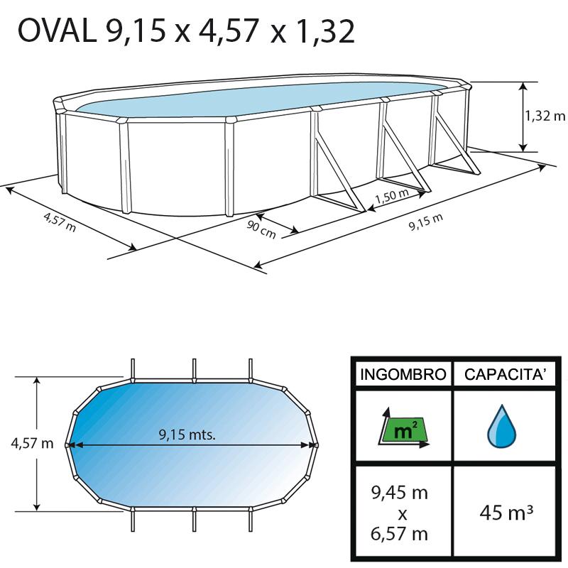 Piscina fuori terra ovale PRESTIGIO - 9,15