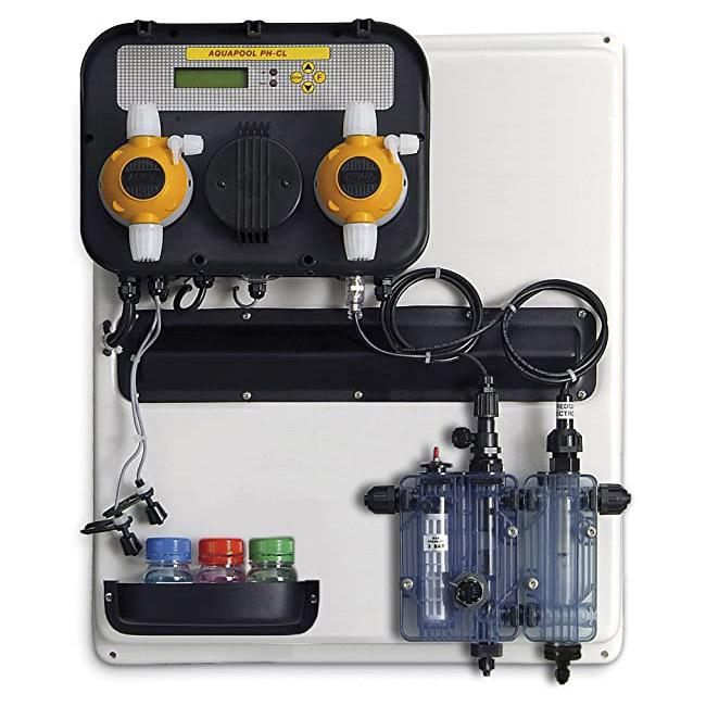 Pannello preassemblato A-POOL SYSTEM per piscine pubbliche per regolazione e controllo pH e Cloro
