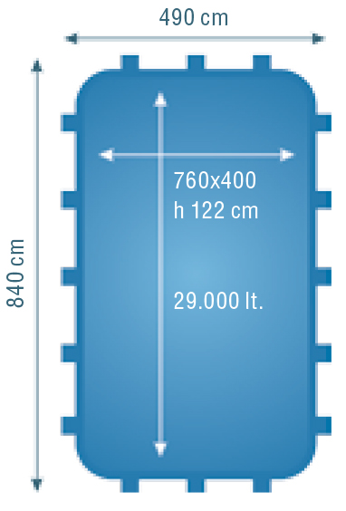 piscina perla 760 dimensioni