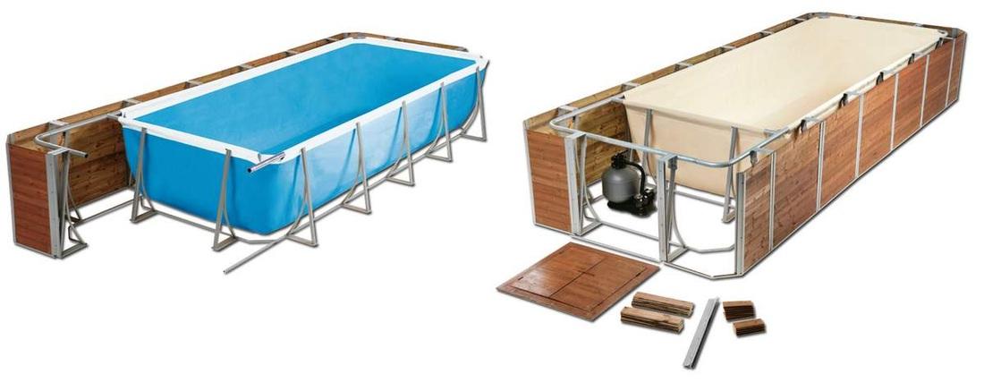 Piscina fuori terra rettangolare technypools amalfi 600 for Costruire piscina fai da te