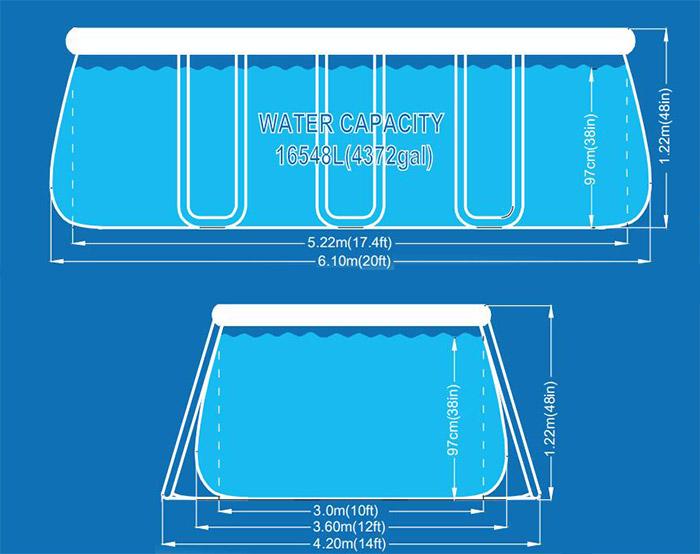 Dimensioni piscina fuori terra CHINOOK Grey Avenli 6,10 x 3,60 x h 1,22 m