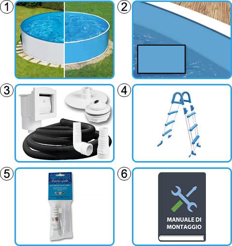 Materiale incluso piscina fuori terra circolare AZURO BASIC - KIT BASE