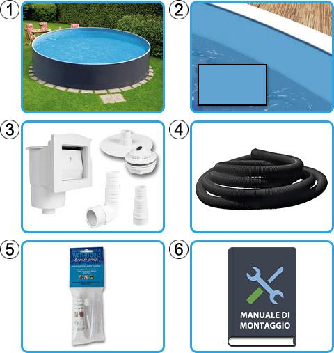 Materiale incluso piscina fuori terra circolare AZURO GRAPHITE - KIT BASE