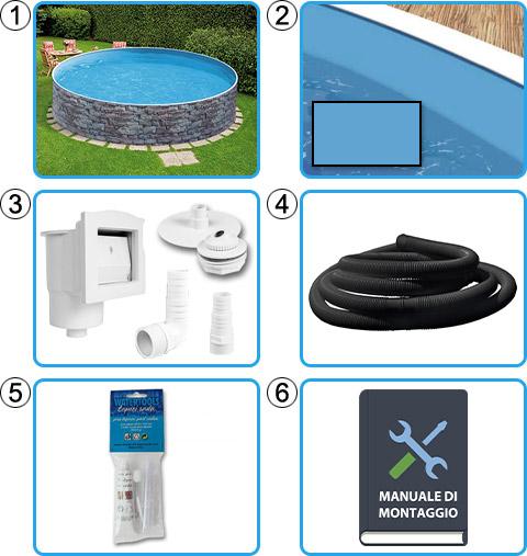 Materiale incluso piscina fuori terra circolare AZURO STONE - KIT BASE