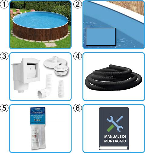 Materiale incluso piscina fuori terra circolare AZURO WOOD - KIT BASE