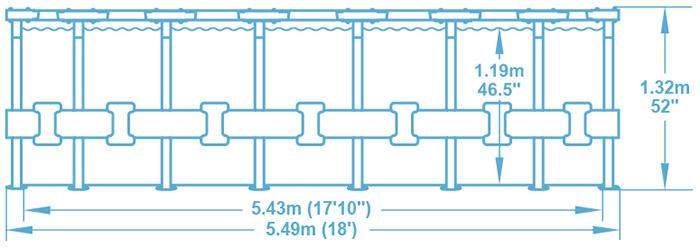 Dimensioni piscina fuori terra circolare Bestway POWER STEEL Stone