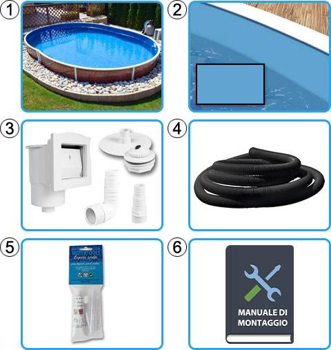 Materiale incluso piscina fuori terra ovale AZURO WOOD - KIT BASE