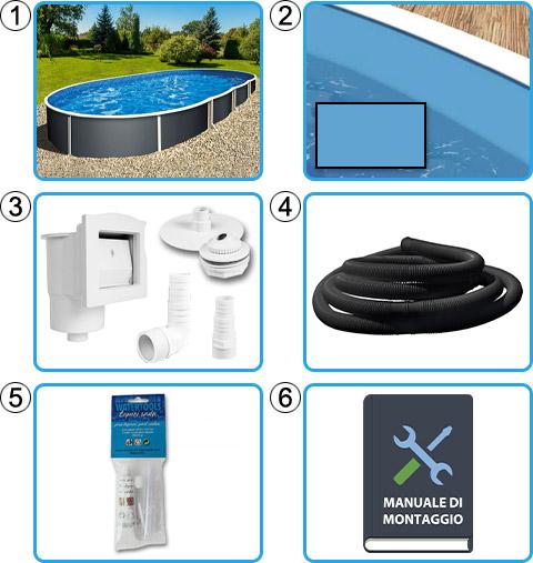 Materiale incluso piscina fuori terra ovale AZURO GRAPHITE - KIT BASE