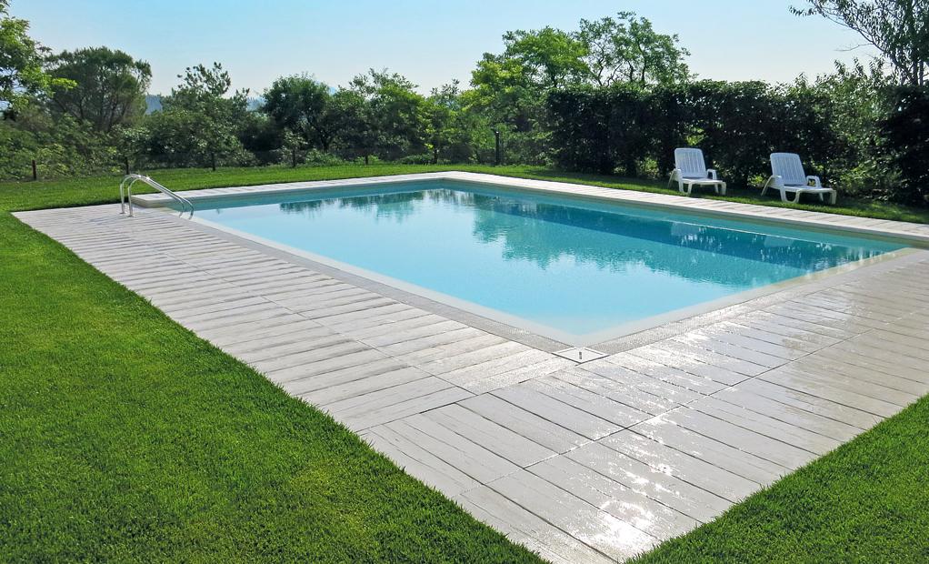 Listone pavimentazione legno autentika 90 x 25 h 3 cm - Pavimentazione per bordo piscina ...