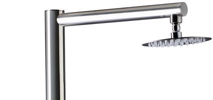 Doccia da esterno PLUTONE in acciaio 316L ad acqua calda e fredda