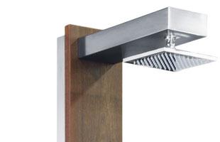 Doccia da esterno ad acqua calda e fredda PLUVIUM in acciaio 316 e legno