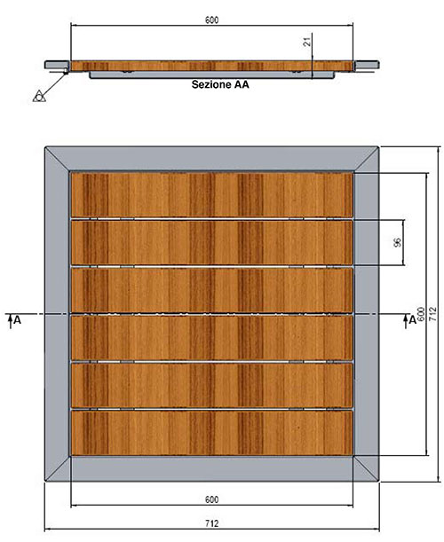 Piatto per doccia Pluvium in acciaio 316 e legno di Ipè