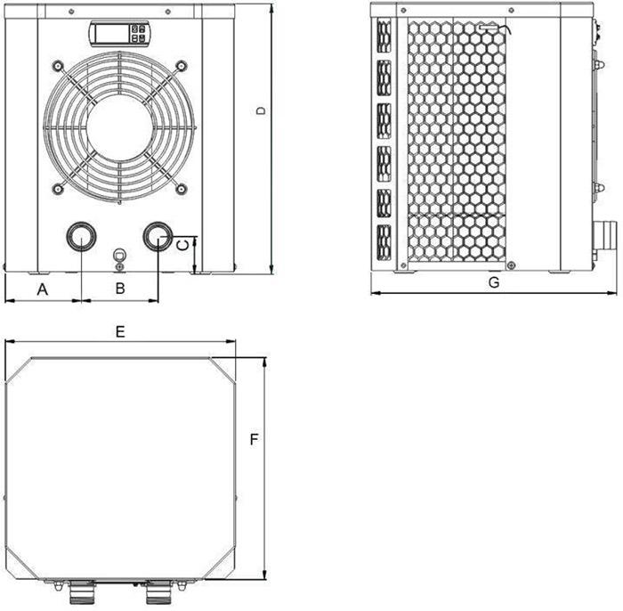 Dimensioni Pompa di calore per piscina fino a 20 mc - GRE MINI