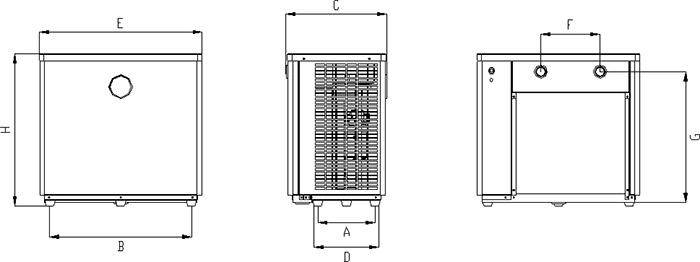 Dimensioni Pompa di calore per piscina AquaMini Polartex