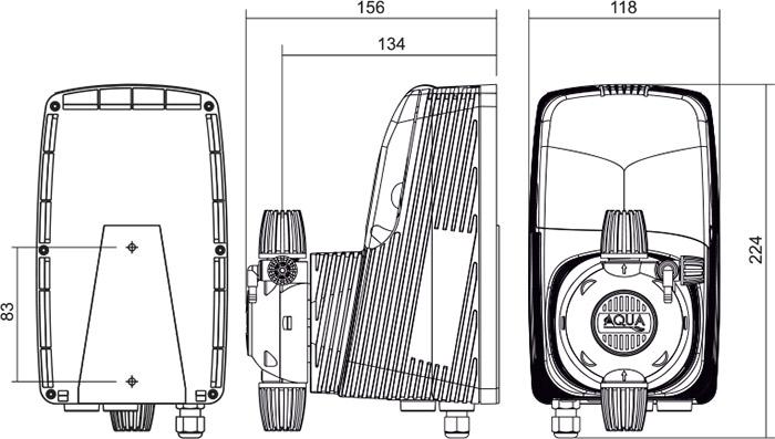 Dimensioni pompa dosatrice elettromagnetica HC151+CST analogica