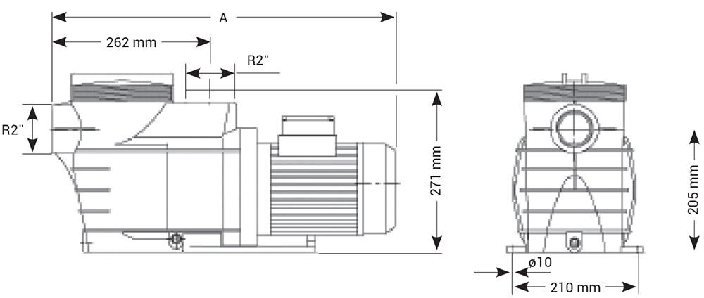 Dimensioni Pompa per filtrazione Hayward MAX EP - da 2 a 3 HP