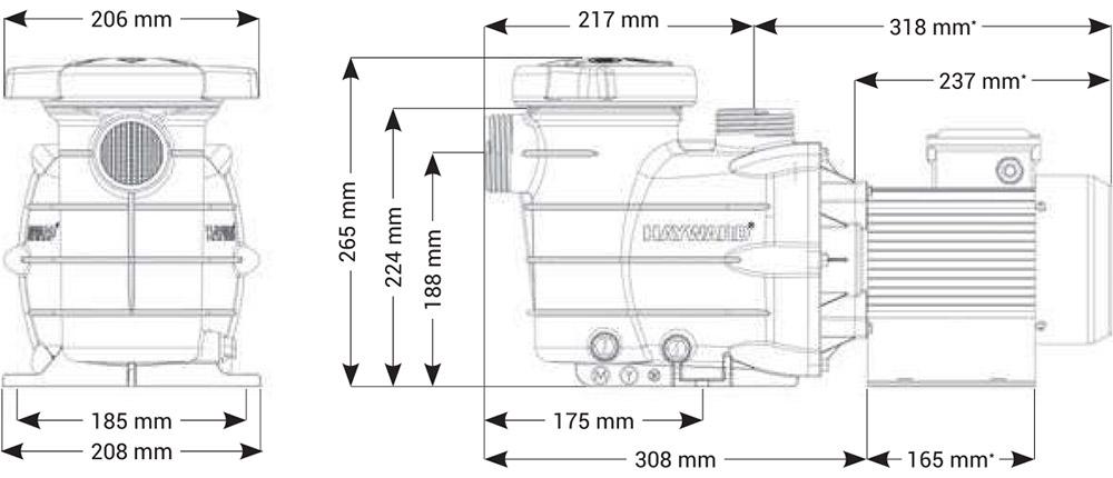 Dimensioni Pompa per filtrazione Hayward PL - da 0.5 a 1.5 HP