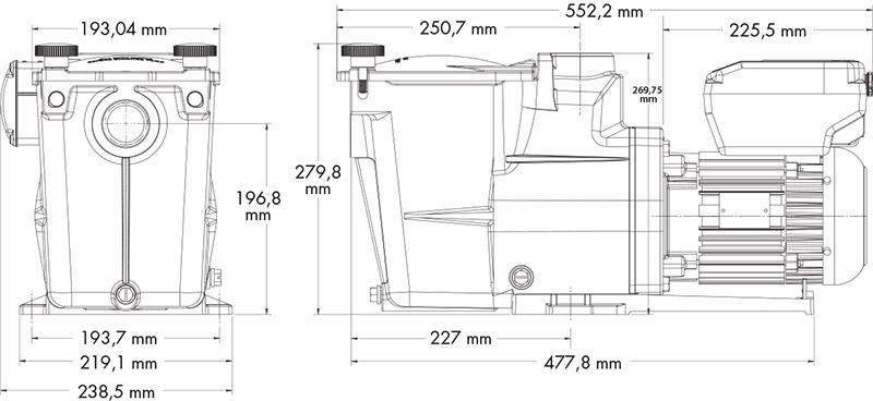Dimensioni Pompa per filtrazione a velocità variabile Hayward SUPER PUMP VSTD