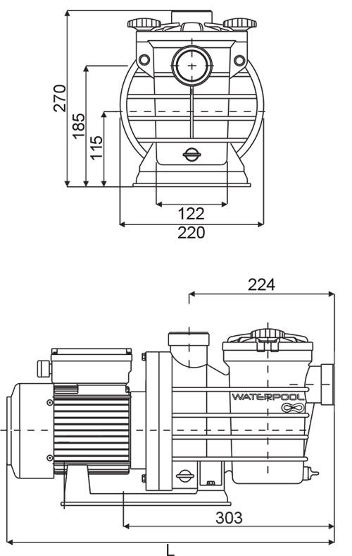 Dimensioni Pompa per filtrazione LYRA