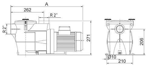 Dimensioni Pompa per filtrazione FIBERPOOL raccordi Ø 5 cm - fino a 0.75 HP