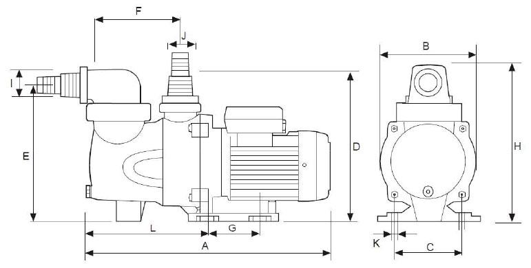 Dimensioni pompa per filtrazione Mr. PISCINA MRF 10 - da 0.25 a 0.60 HP
