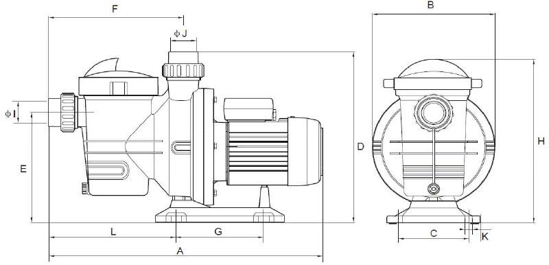 Dimensioni pompa per filtrazione Mr. PISCINA MRF 20 - da 0.50 a 1.50 HP