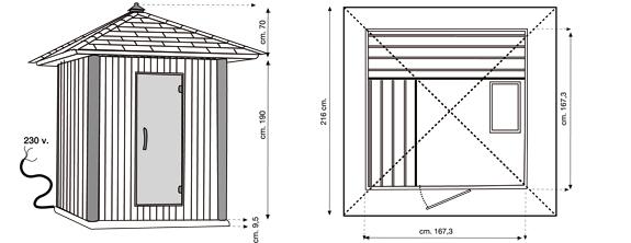 Sauna finlandese da esterno in legno di abete 3 posti - Sauna da esterno ...