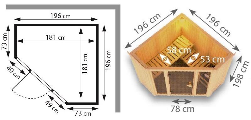 Sauna finlandese tradizionale FLORA1 misure