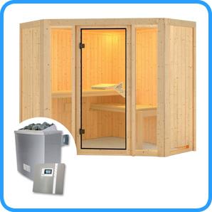 Sauna finlandese tradizionale FLORA1 stufa 9 kw e pannello