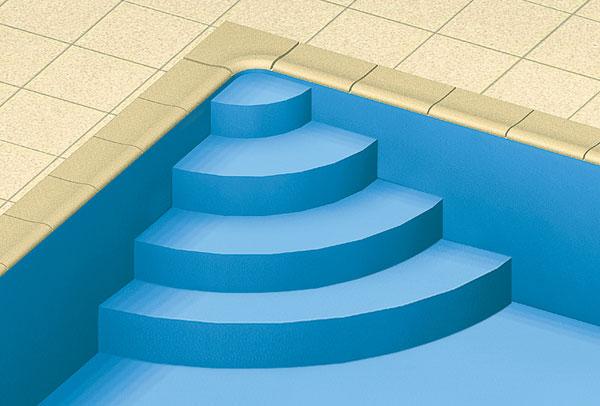 Scala interna per piscina ad angolo curvo h 1 25 m per - Larghezza scala interna ...