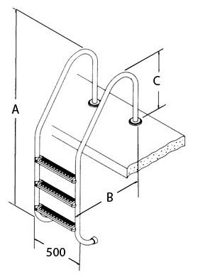 dimensioni Scaletta per piscina ARCO con bordo a sfioro in AISI 316