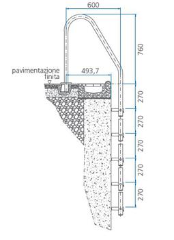 Scaletta Trianon Inox 316 per piscine interrate