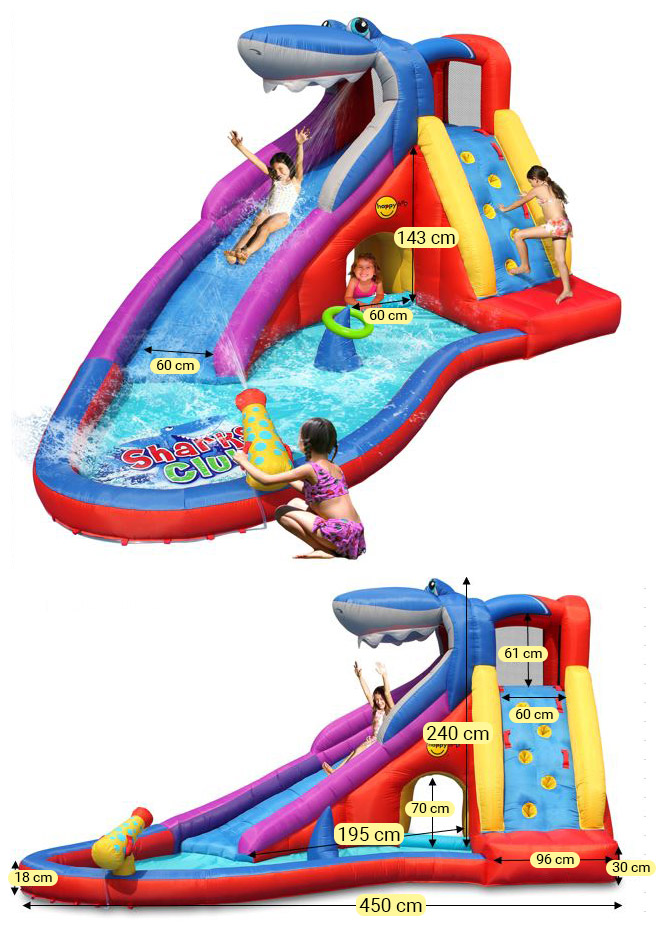 Dimensioni Scivolo gonfiabile per bambini SQUALO con giochi ad acqua