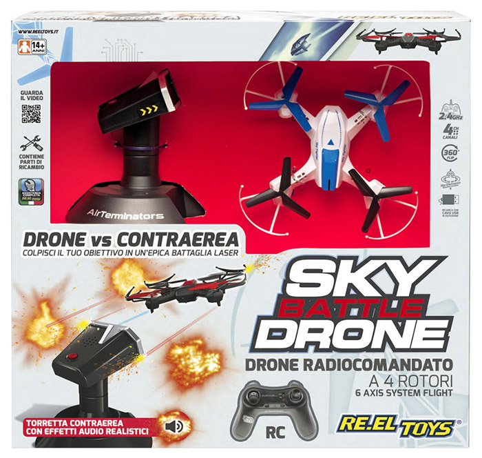 Drone radiocomandato SKY BATTLE DRONE RE.EL TOYS con torretta contraerea