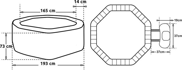 Dimensioni SPA idromassaggio NETSPA OCTOPUS 4 persone