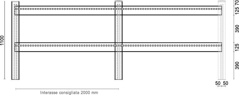 Dimensioni Staccionata in WPC BAMBOO a profilo quadro in kit di installazione