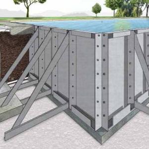 struttura piscina in pannelli d'acciaio