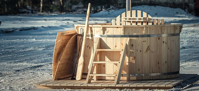 Tinozza idromassaggio in legno ELLOS 2,20 m con stufa interna