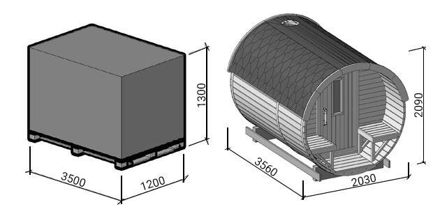 misure pallet sauna plutone