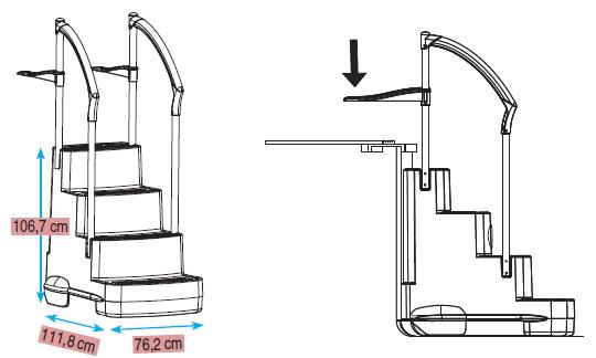 Dimensioni Scaletta amovibile in resina FESTIVA Lumi-O per piscina