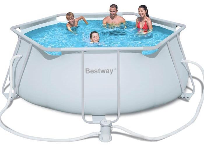 Piscina fuori terra bestway frame pro esagonale 356 x h102 - Montaggio piscina bestway ...