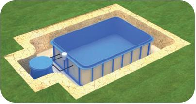 Kit piscina interrata 4 in 1 marte b150 3 45 x 8 00 h 1 50 m - Locale tecnico piscina ...