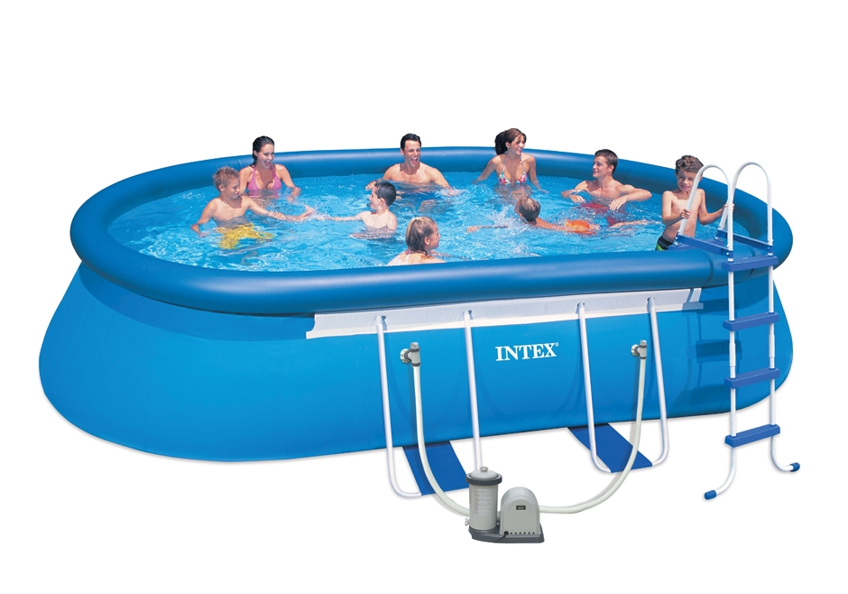 Piscina fuori terra intex ovale 5 49 x 3 05 h 1 07 m kit for Piscine intex autoportee ovale