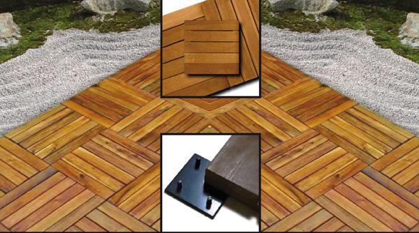 Pavimentazione in quadrotte di legno per esterni in kurupay