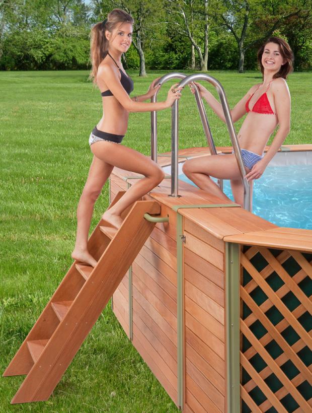 Scaletta doppia legno inox per piscine fuori terra - Scaletta per piscina fuori terra ...
