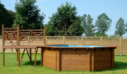 Solarium terrazzo in legno per piscine fuori terra 2x2 m - Piscine fuori terra con solarium ...