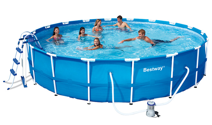 Piscina fuori terra bestway steel frame rotonda 5 49 x h for Piscine portante