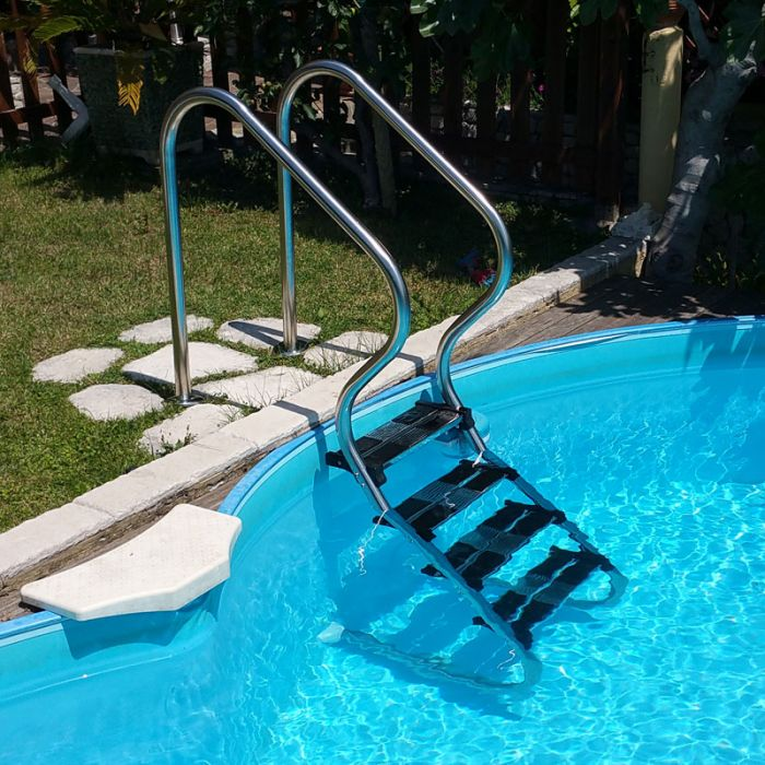 Scaletta comfort in acciaio inox per piscine interrate 3 4 - Scale per piscine interrate ...